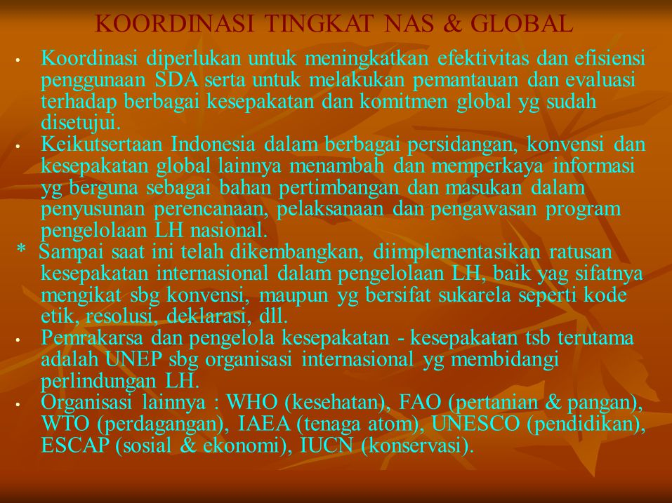 KOORDINASI TINGKAT NAS & GLOBAL
