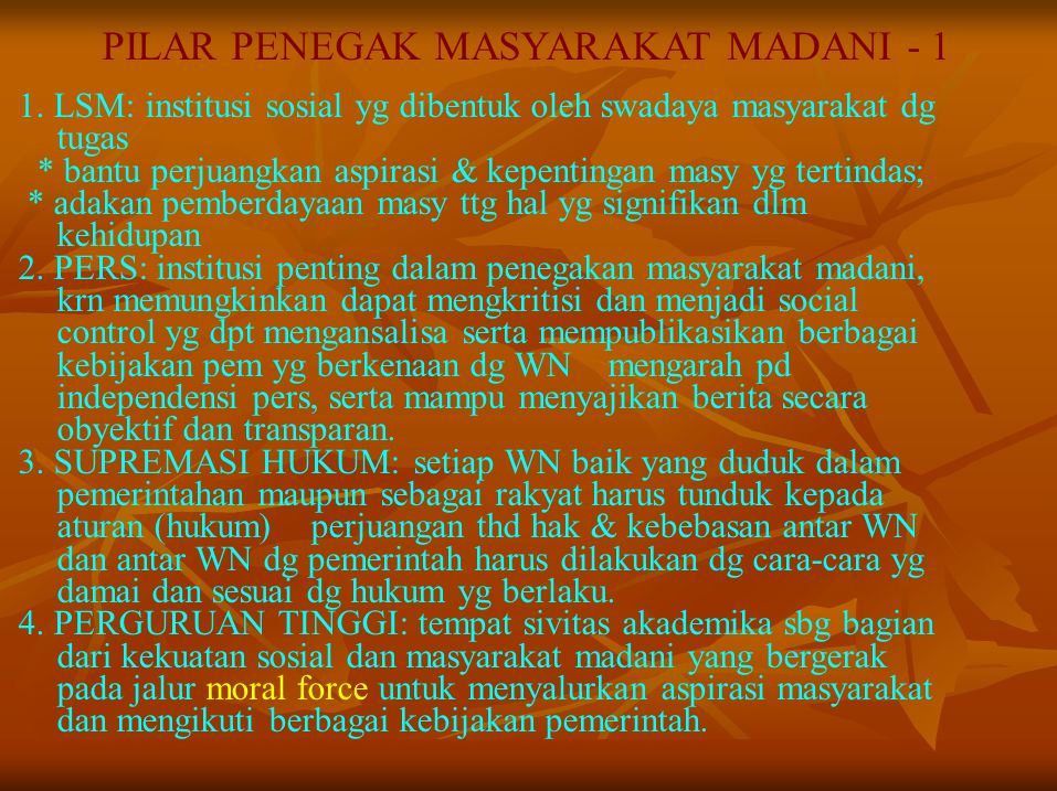 PILAR PENEGAK MASYARAKAT MADANI - 1