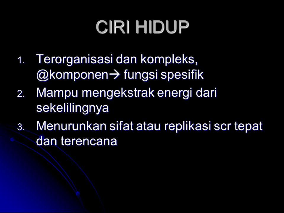 CIRI HIDUP Terorganisasi dan kompleks, @komponen fungsi spesifik