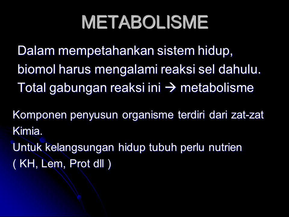 METABOLISME Dalam mempetahankan sistem hidup,