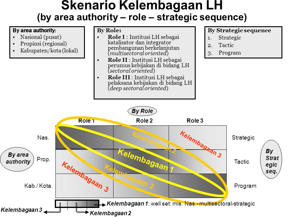 Skenario Kelembagaan LH (by area authority – role – strategic sequence)