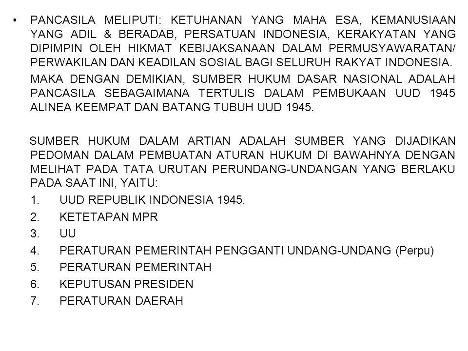 PANCASILA MELIPUTI: KETUHANAN YANG MAHA ESA, KEMANUSIAAN YANG ADIL & BERADAB, PERSATUAN INDONESIA, KERAKYATAN YANG DIPIMPIN OLEH HIKMAT KEBIJAKSANAAN DALAM PERMUSYAWARATAN/ PERWAKILAN DAN KEADILAN SOSIAL BAGI SELURUH RAKYAT INDONESIA.