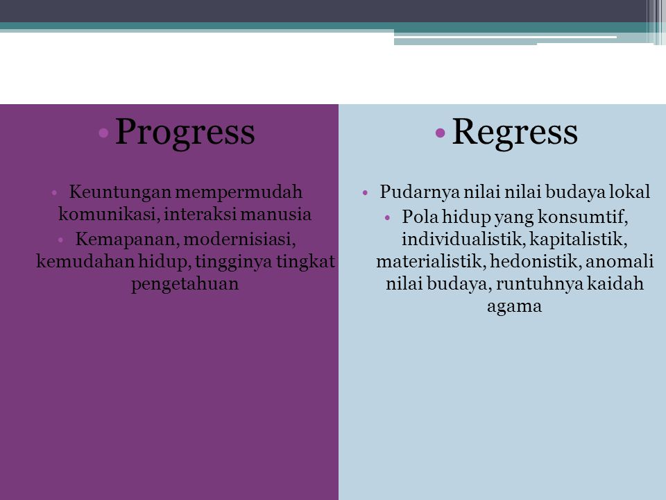 Dampak Globalisasi Progress Regress