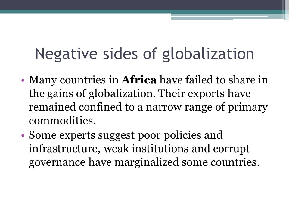 Negative sides of globalization