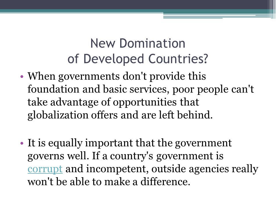New Domination of Developed Countries