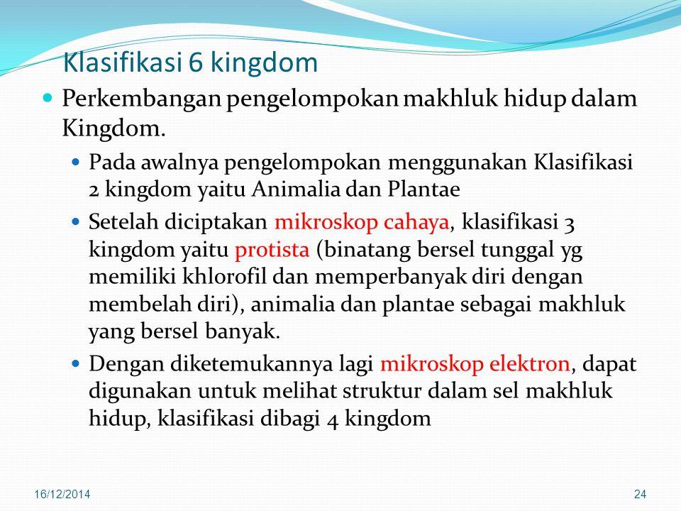 Klasifikasi 6 kingdom Perkembangan pengelompokan makhluk hidup dalam Kingdom.