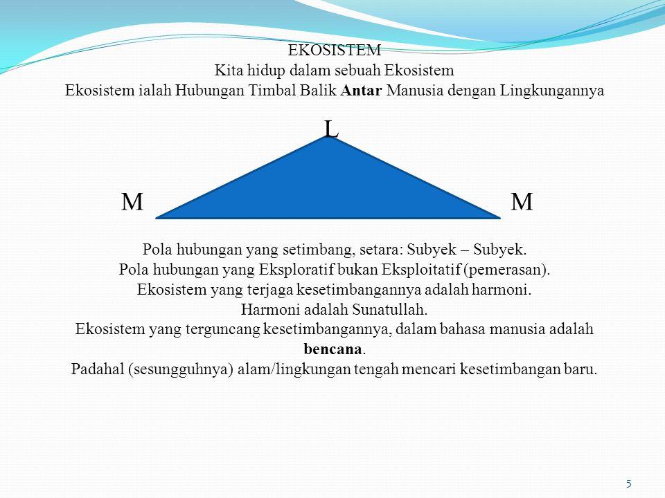 L M M EKOSISTEM Kita hidup dalam sebuah Ekosistem