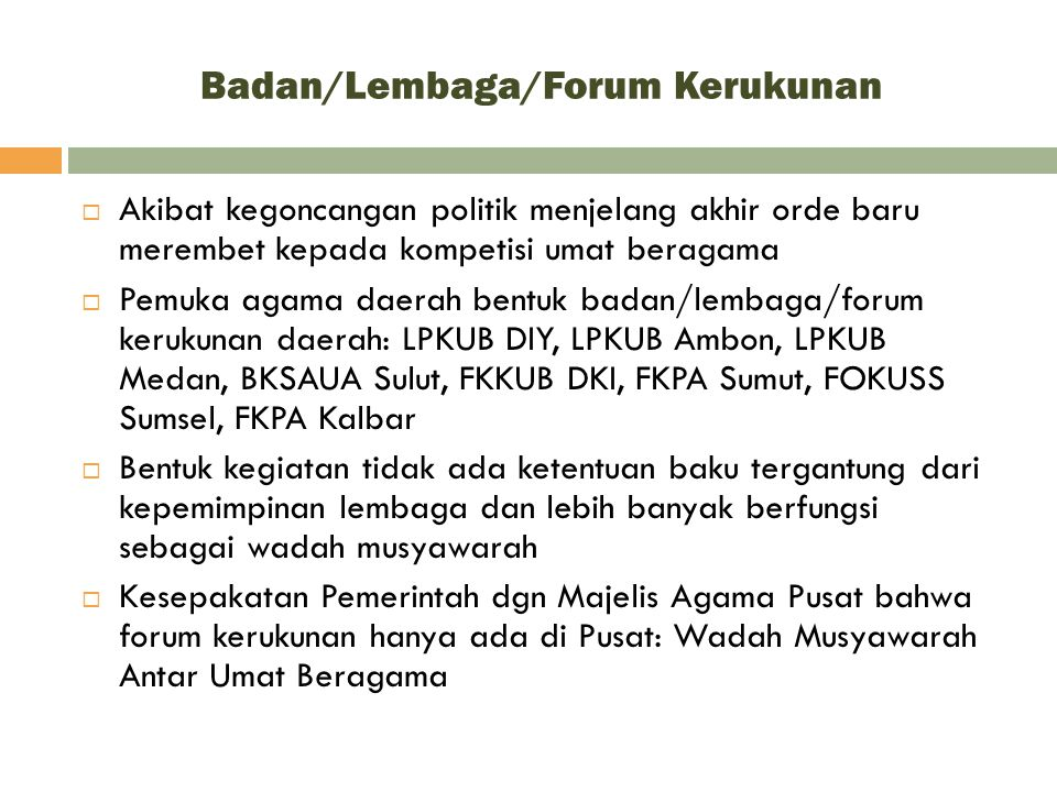 Badan/Lembaga/Forum Kerukunan