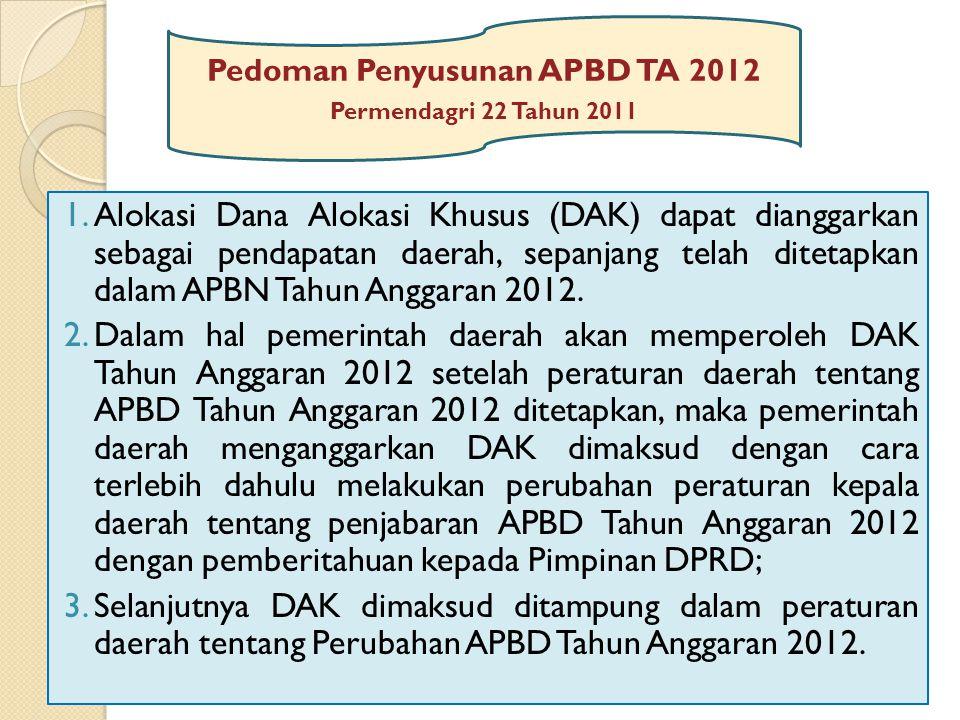 Pedoman Penyusunan APBD TA 2012 Permendagri 22 Tahun 2011