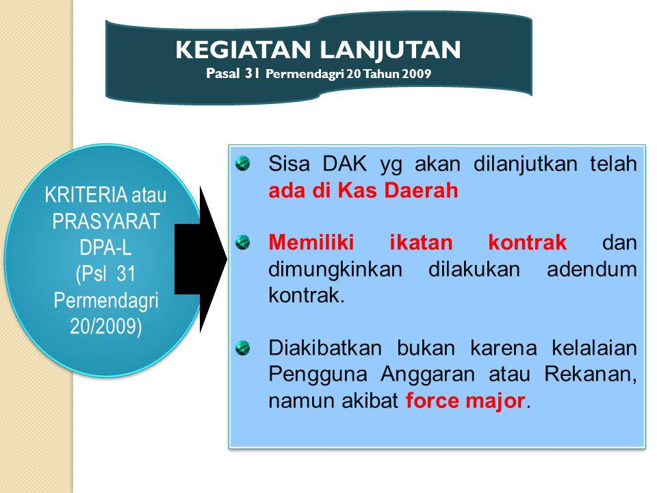 KEGIATAN LANJUTAN Pasal 31 Permendagri 20 Tahun 2009