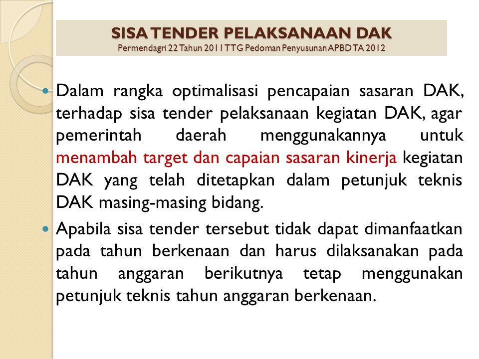 SISA TENDER PELAKSANAAN DAK Permendagri 22 Tahun 2011 TTG Pedoman Penyusunan APBD TA 2012