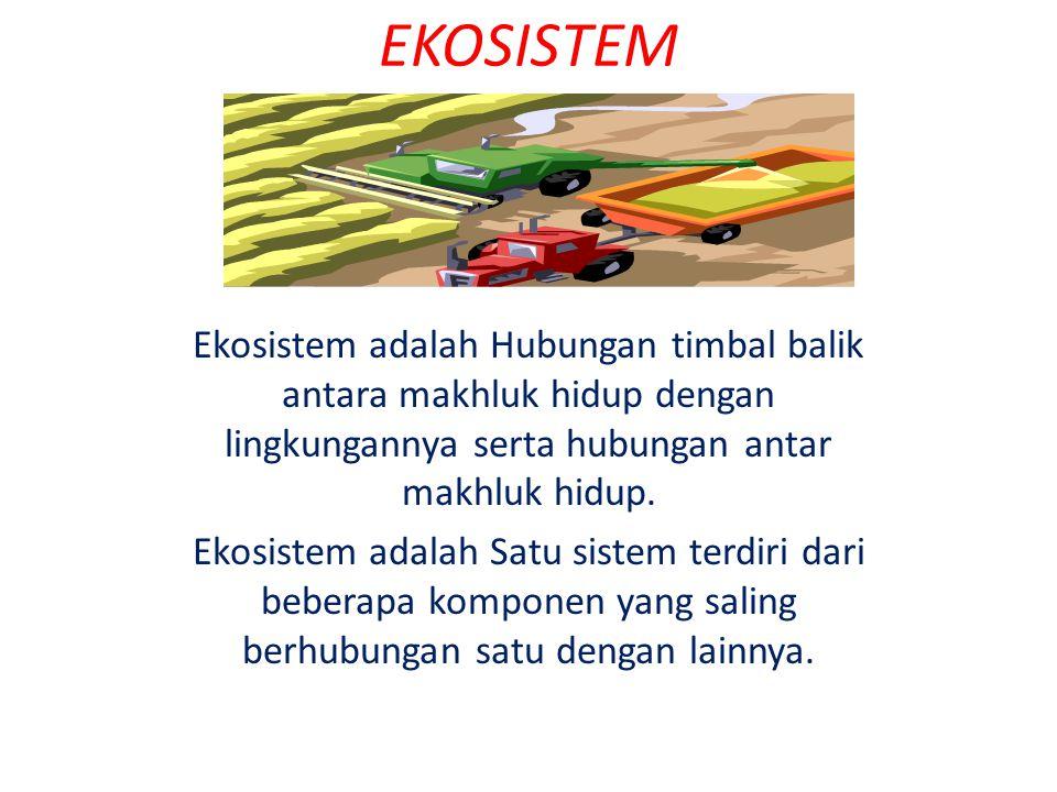 EKOSISTEM Ekosistem adalah Hubungan timbal balik antara makhluk hidup dengan lingkungannya serta hubungan antar makhluk hidup.