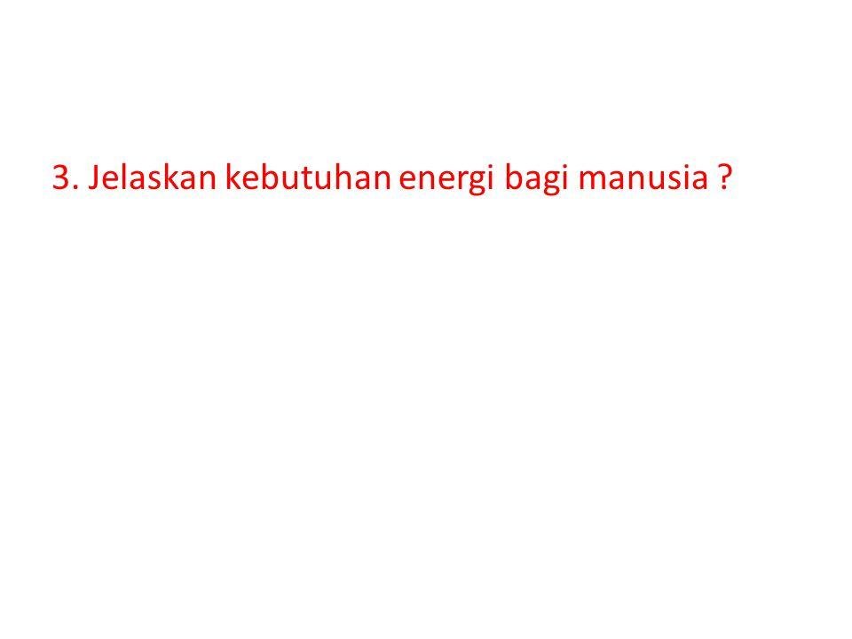 3. Jelaskan kebutuhan energi bagi manusia