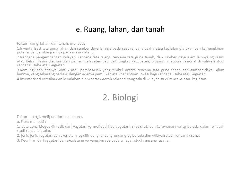 2. Biologi e. Ruang, lahan, dan tanah