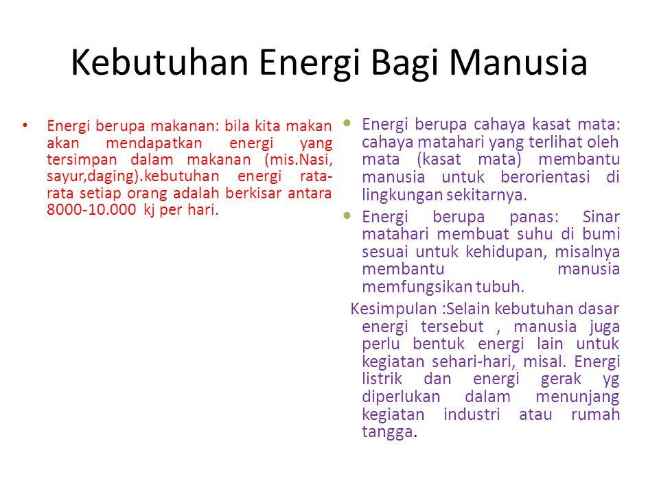 Kebutuhan Energi Bagi Manusia