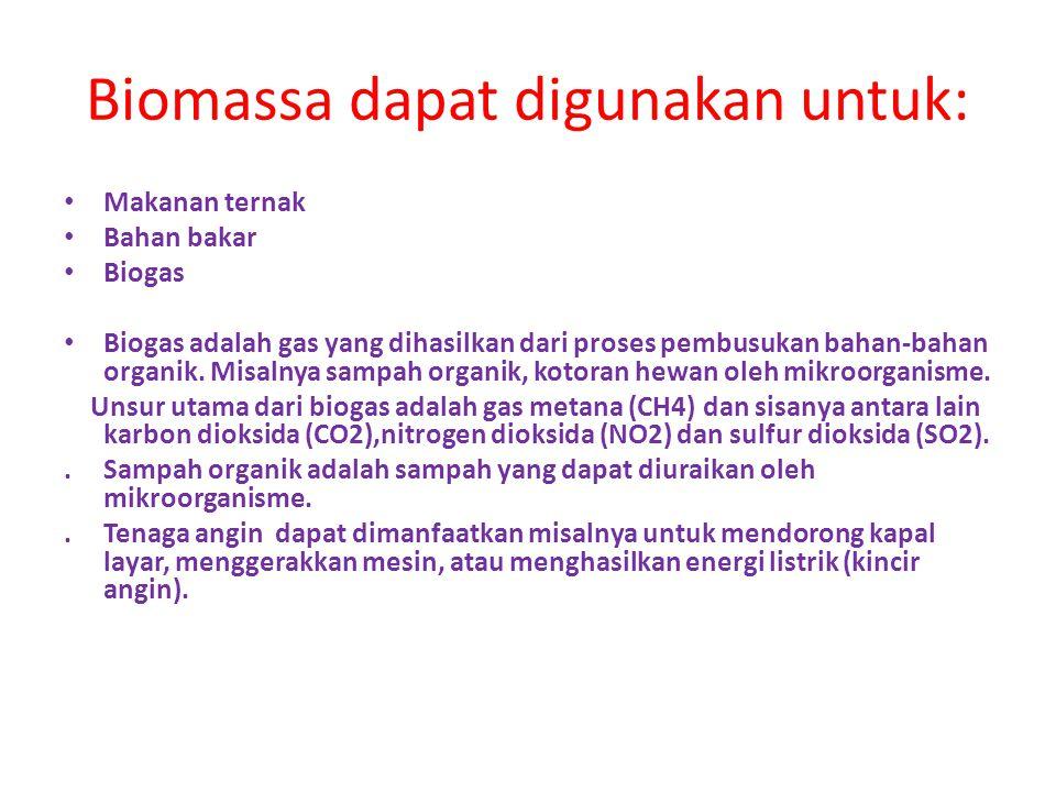 Biomassa dapat digunakan untuk: