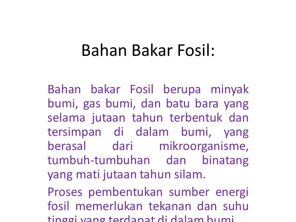 Bahan Bakar Fosil: