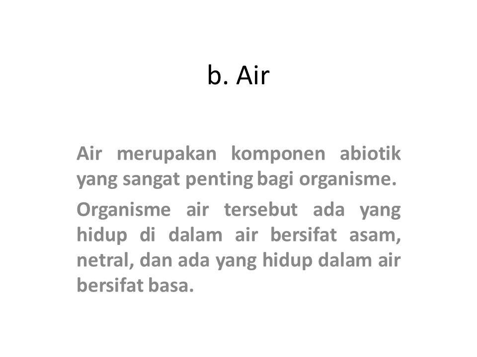 b. Air Air merupakan komponen abiotik yang sangat penting bagi organisme.