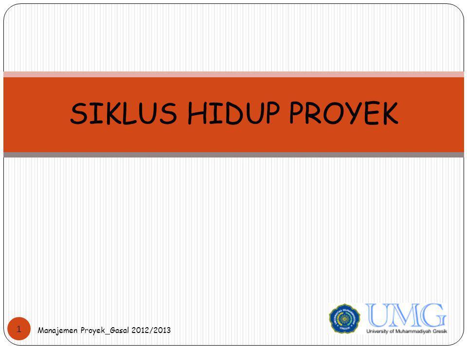 SIKLUS HIDUP PROYEK Manajemen Proyek_Gasal 2012/2013