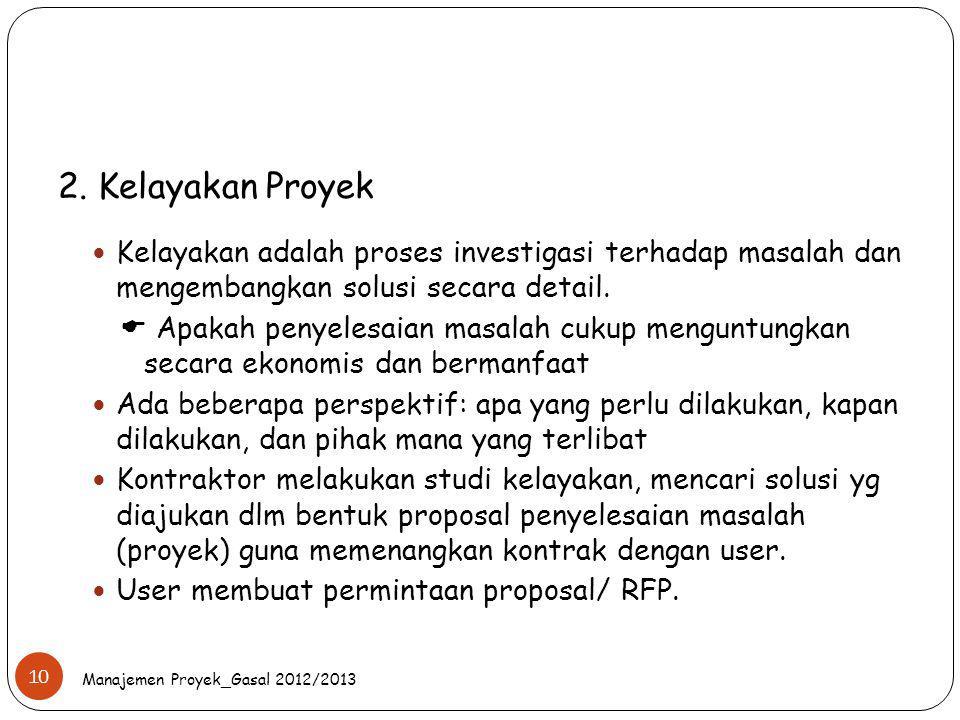 2. Kelayakan Proyek Kelayakan adalah proses investigasi terhadap masalah dan mengembangkan solusi secara detail.