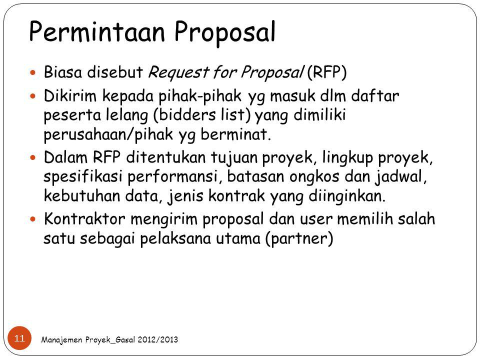 Permintaan Proposal Biasa disebut Request for Proposal (RFP)