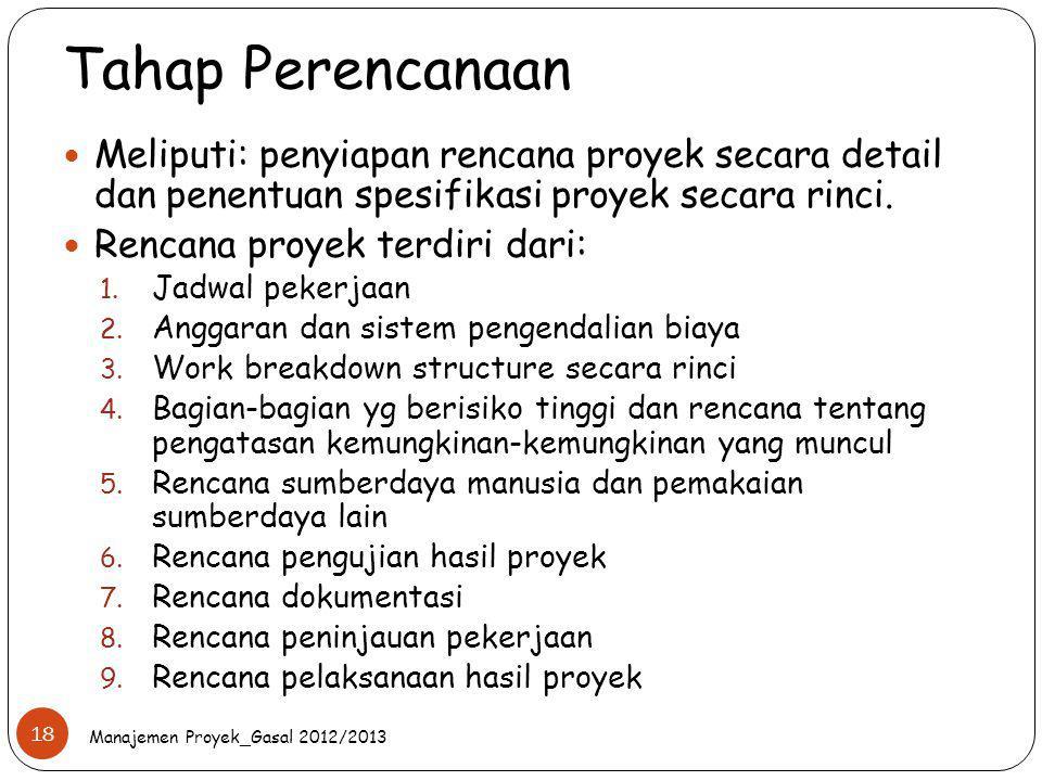 Tahap Perencanaan Meliputi: penyiapan rencana proyek secara detail dan penentuan spesifikasi proyek secara rinci.