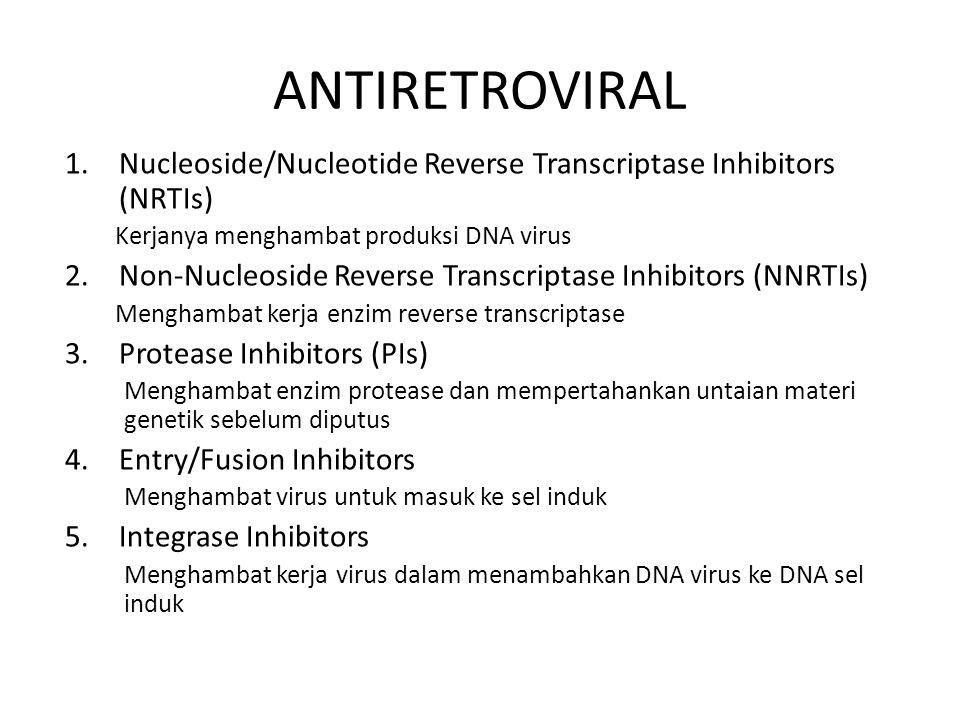 ANTIRETROVIRAL Nucleoside/Nucleotide Reverse Transcriptase Inhibitors (NRTIs) Kerjanya menghambat produksi DNA virus.