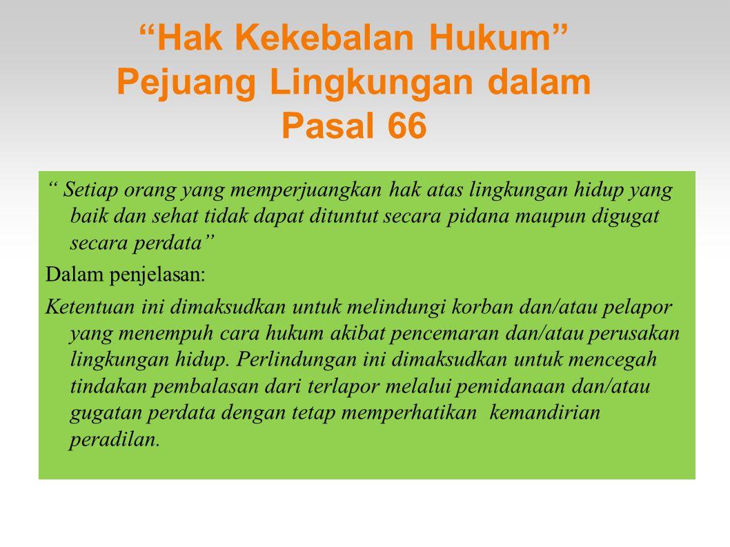 Hak Kekebalan Hukum Pejuang Lingkungan dalam Pasal 66