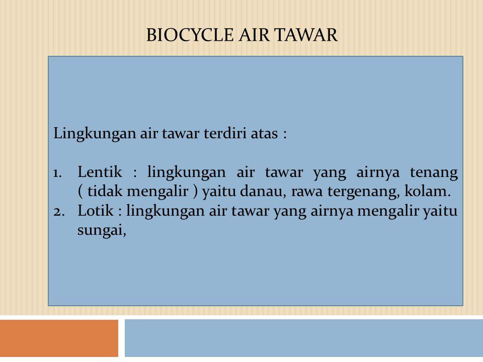 BIOCYCLE AIR TAWAR Lingkungan air tawar terdiri atas :