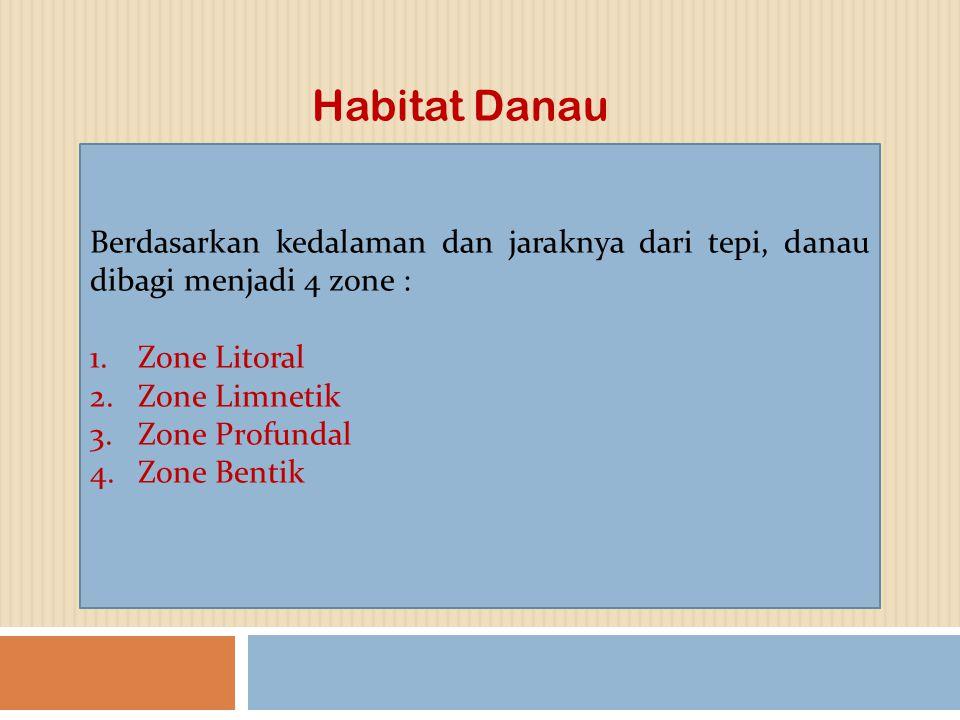 Habitat Danau Berdasarkan kedalaman dan jaraknya dari tepi, danau dibagi menjadi 4 zone : Zone Litoral.