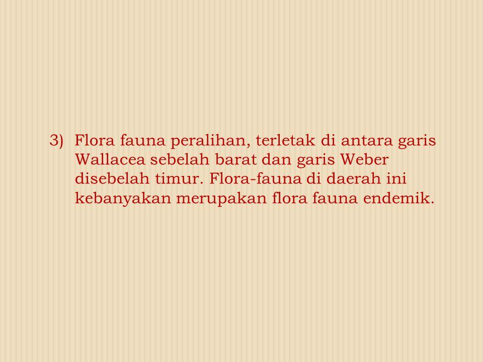 3) Flora fauna peralihan, terletak di antara garis