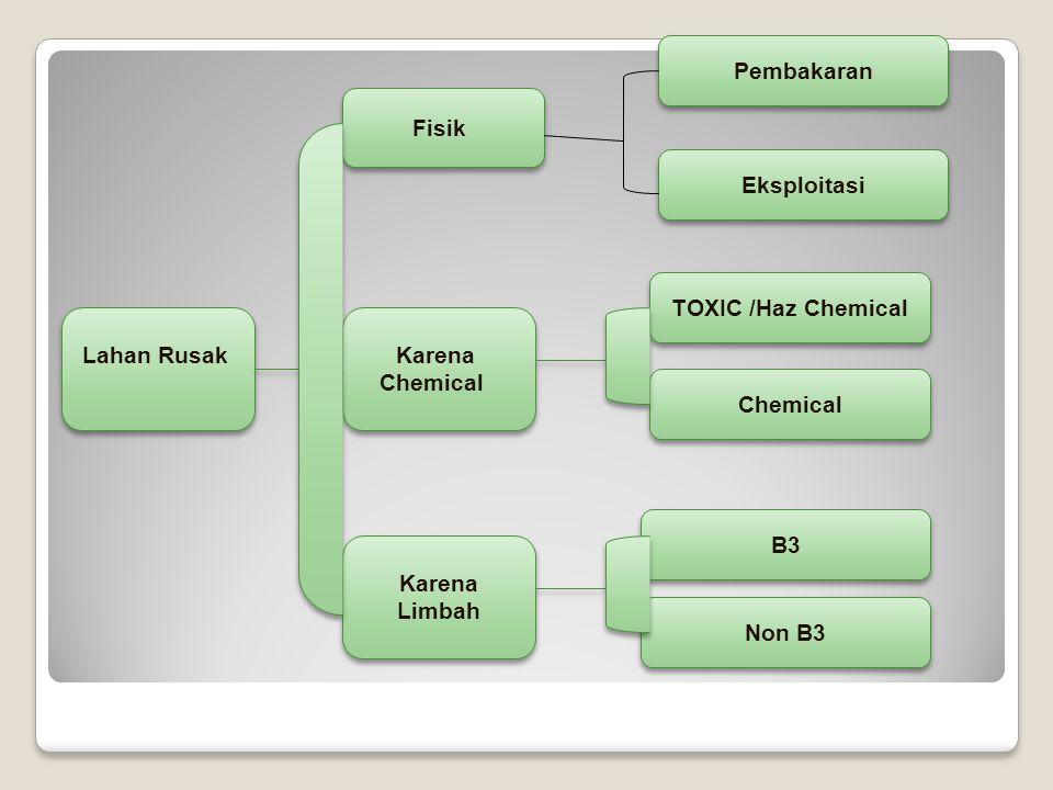 Pembakaran Lahan Rusak Fisik Karena Chemical Limbah Non B3 B3 TOXIC /Haz Chemical Eksploitasi