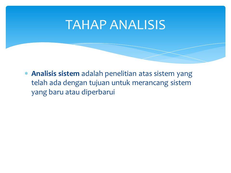 TAHAP ANALISIS Analisis sistem adalah penelitian atas sistem yang telah ada dengan tujuan untuk merancang sistem yang baru atau diperbarui.