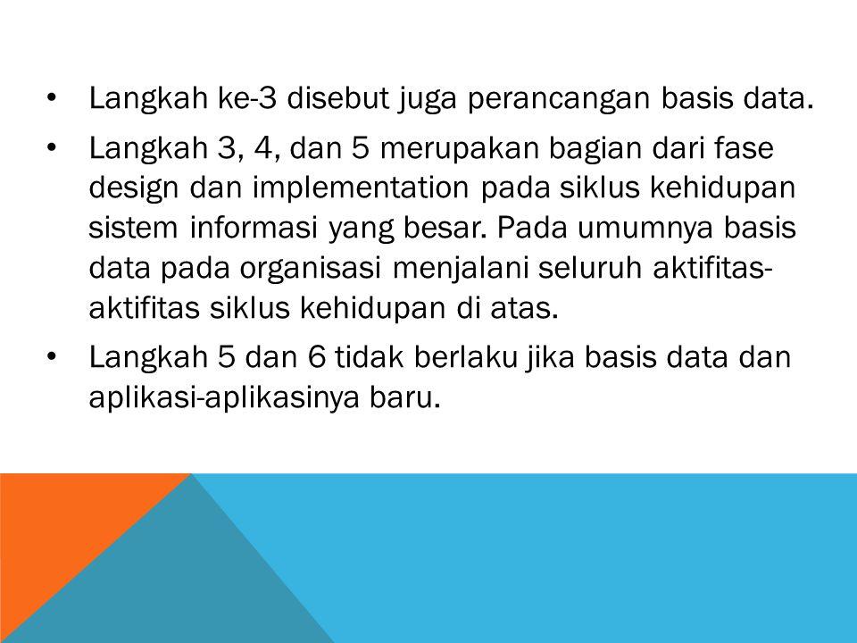 Langkah ke-3 disebut juga perancangan basis data.