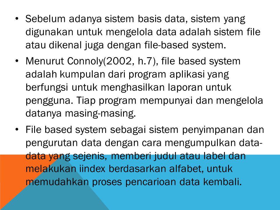 Sebelum adanya sistem basis data, sistem yang digunakan untuk mengelola data adalah sistem file atau dikenal juga dengan file-based system.