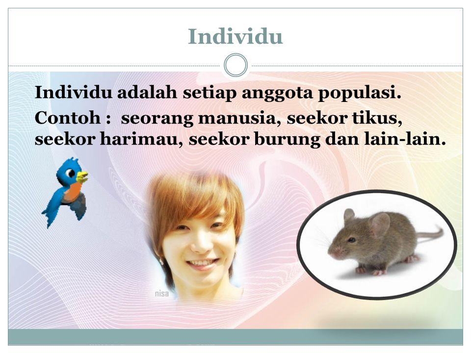 Individu Individu adalah setiap anggota populasi.