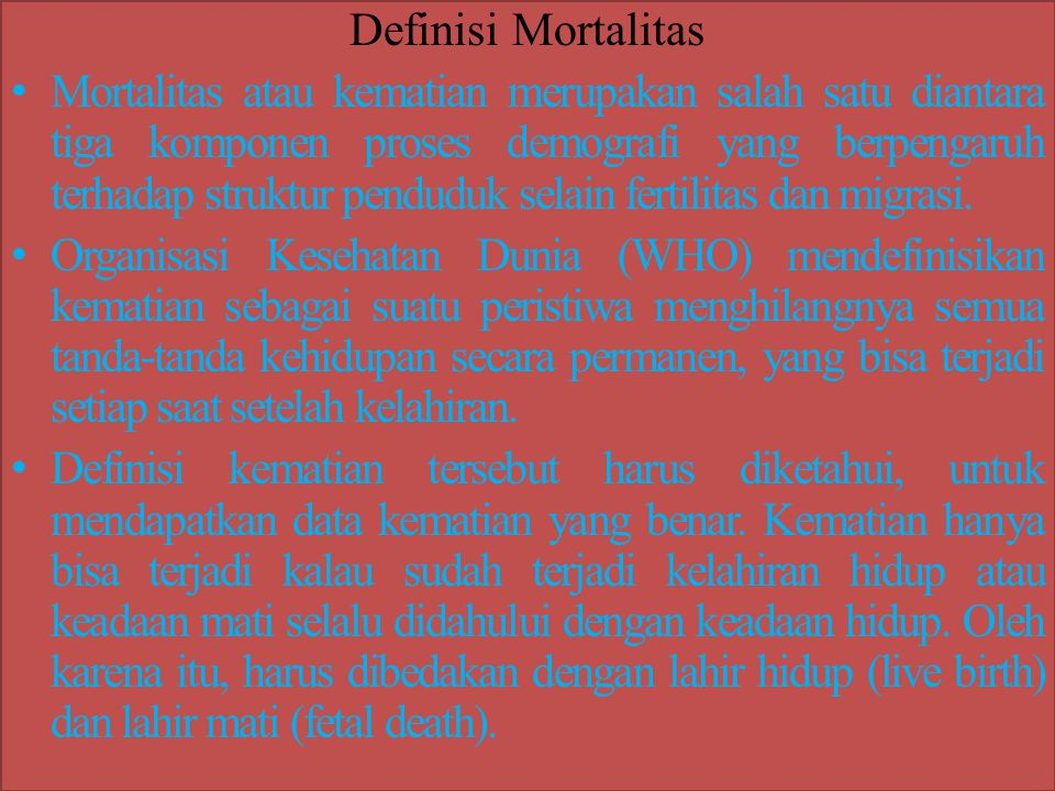 Definisi Mortalitas