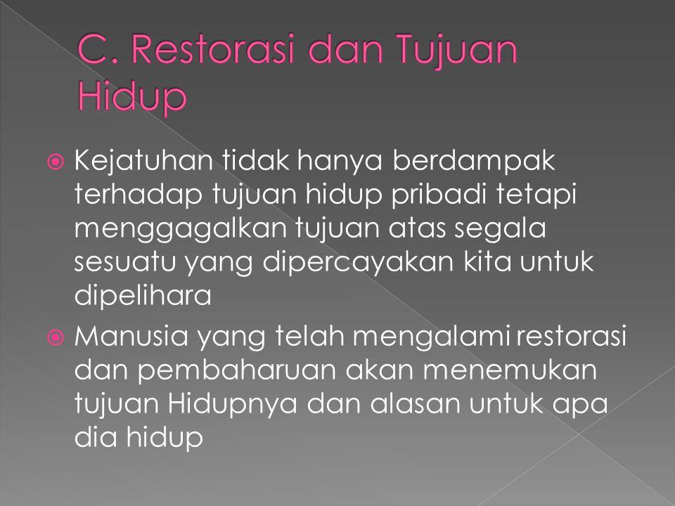 C. Restorasi dan Tujuan Hidup