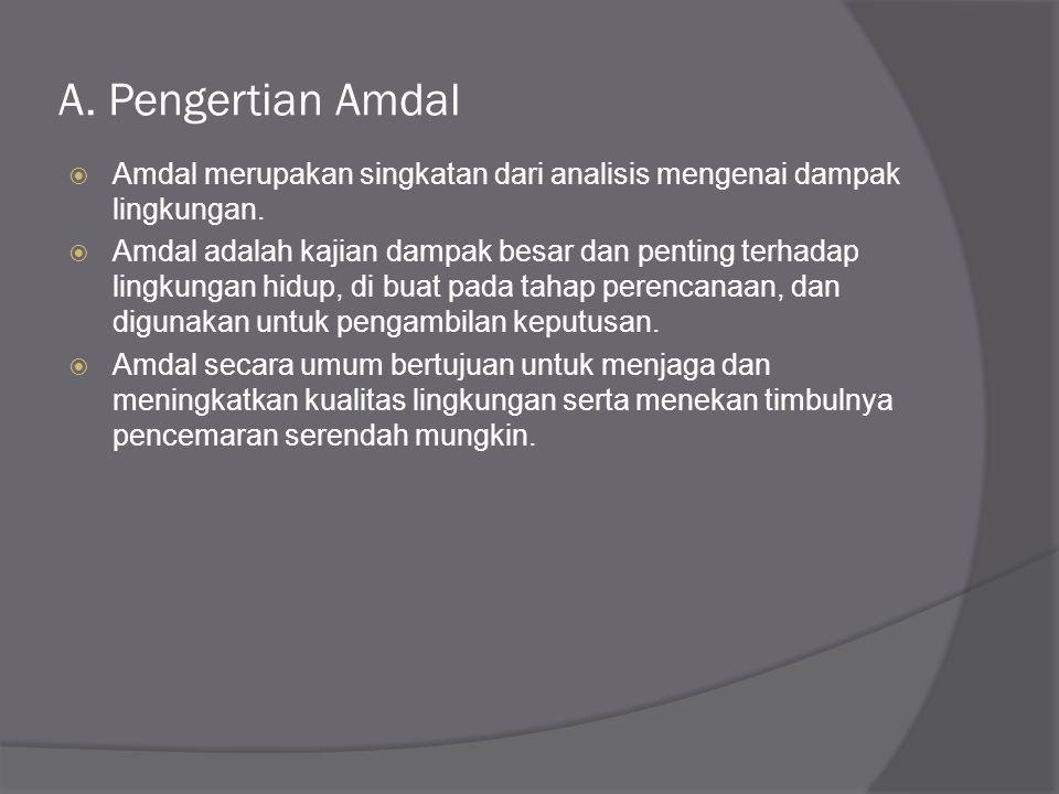 A. Pengertian Amdal Amdal merupakan singkatan dari analisis mengenai dampak lingkungan.