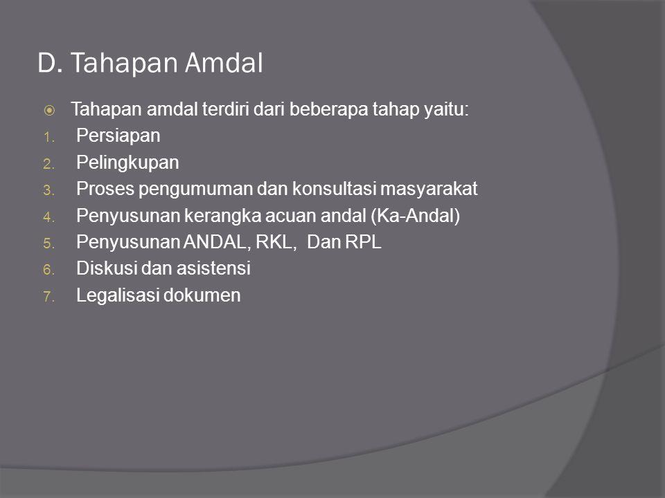 D. Tahapan Amdal Tahapan amdal terdiri dari beberapa tahap yaitu: