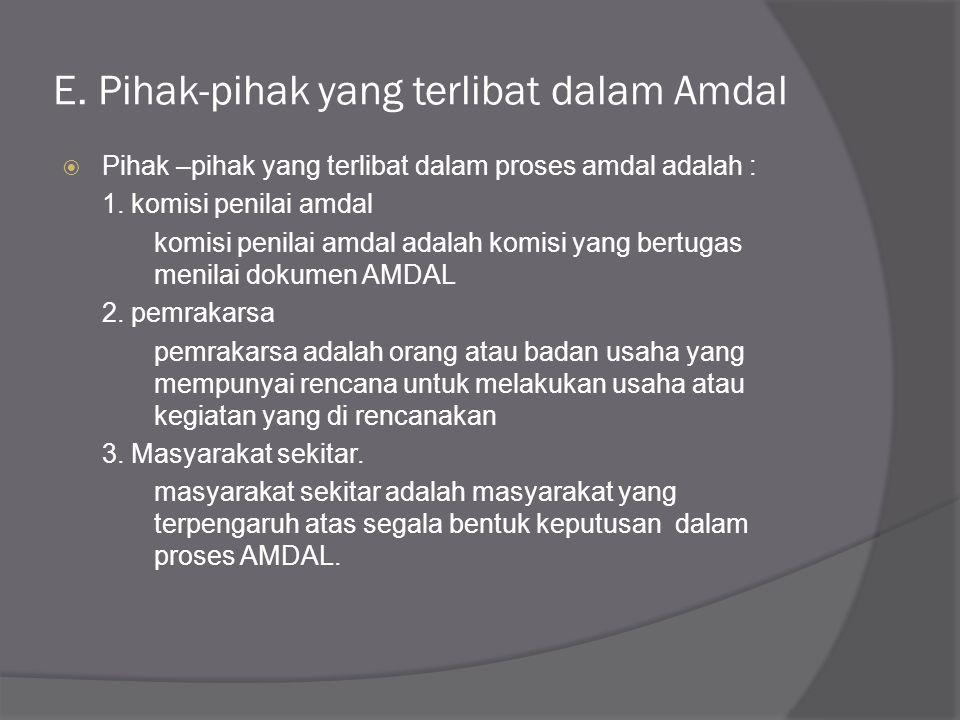 E. Pihak-pihak yang terlibat dalam Amdal