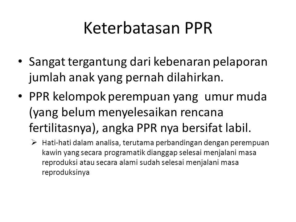 Keterbatasan PPR Sangat tergantung dari kebenaran pelaporan jumlah anak yang pernah dilahirkan.