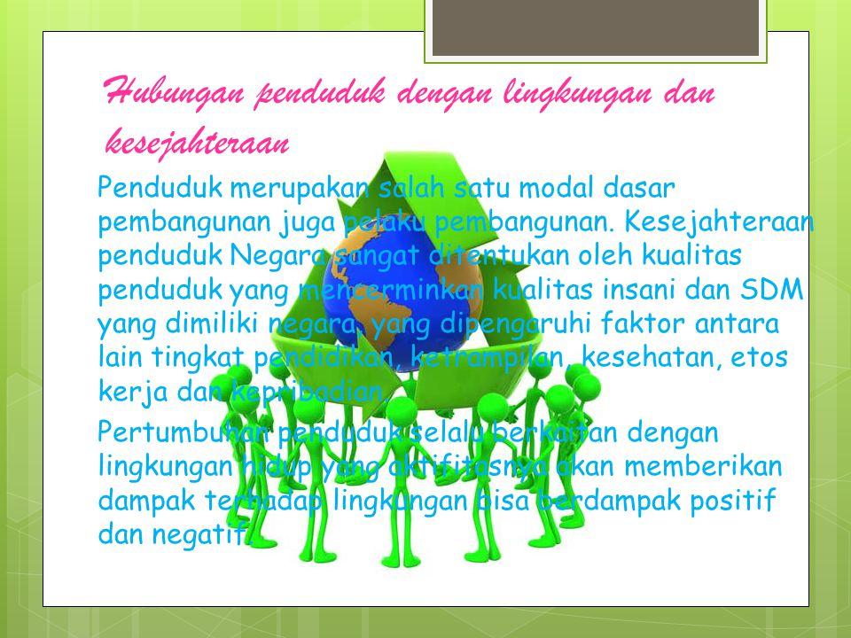 Hubungan penduduk dengan lingkungan dan kesejahteraan
