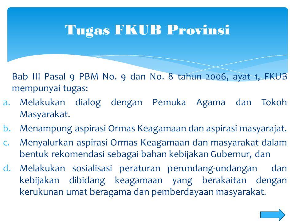 Tugas FKUB Provinsi Bab III Pasal 9 PBM No. 9 dan No. 8 tahun 2006, ayat 1, FKUB mempunyai tugas: