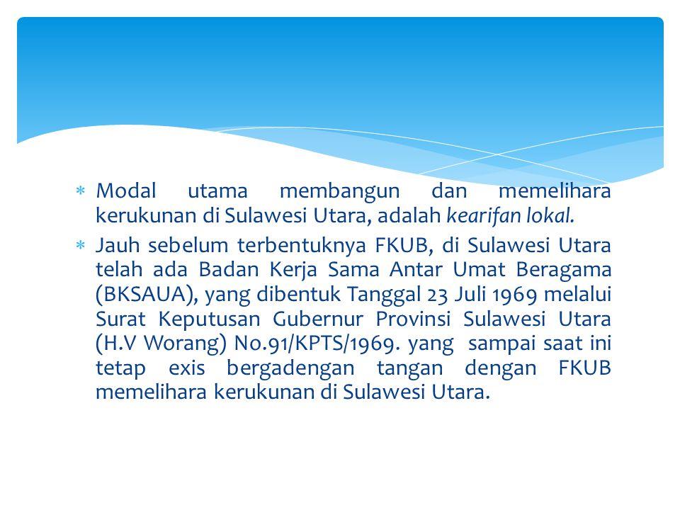 Modal utama membangun dan memelihara kerukunan di Sulawesi Utara, adalah kearifan lokal.