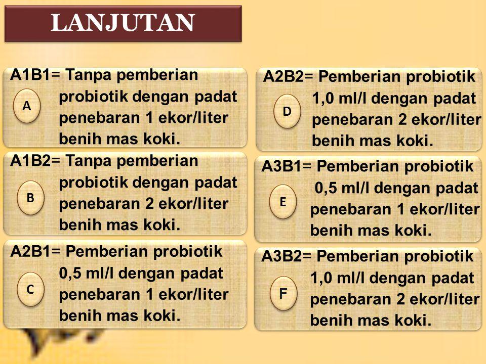 LANJUTAN A1B1= Tanpa pemberian A2B2= Pemberian probiotik