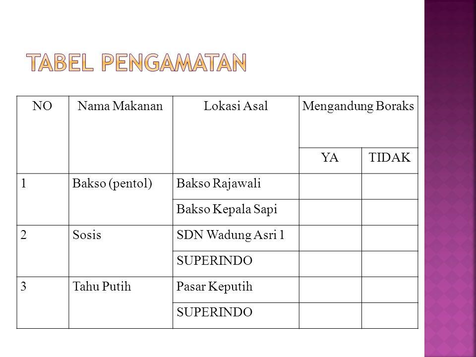 Tabel Pengamatan NO Nama Makanan Lokasi Asal Mengandung Boraks YA