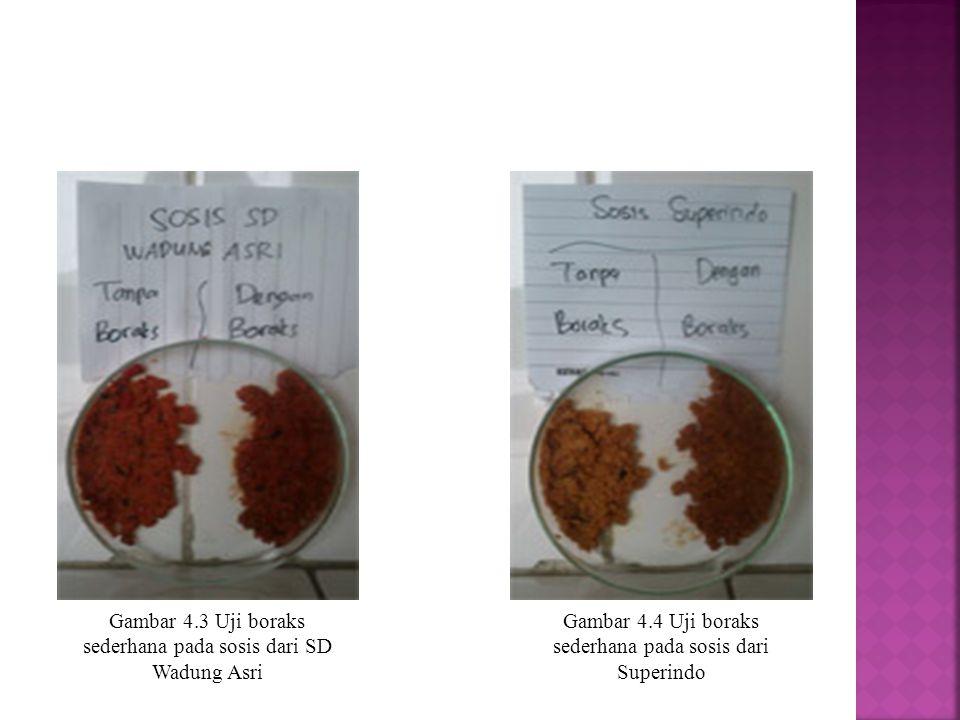 Gambar 4.3 Uji boraks sederhana pada sosis dari SD Wadung Asri