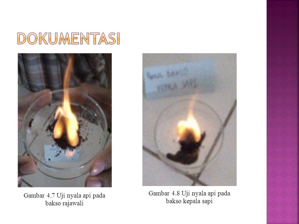 DOKUMENTASI Gambar 4.8 Uji nyala api pada bakso kepala sapi