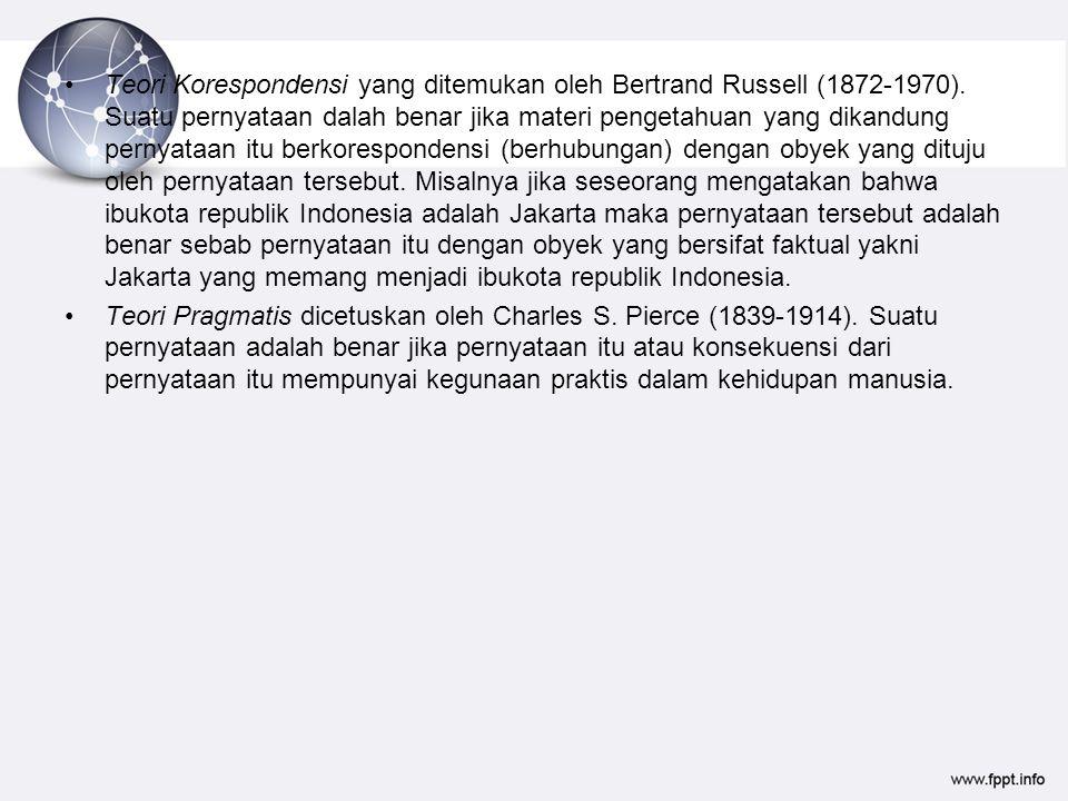 Teori Korespondensi yang ditemukan oleh Bertrand Russell (1872-1970)